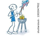 stick figure grilling a fish at ... | Shutterstock .eps vector #1302047902
