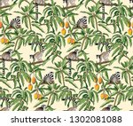 Seamless Pattern Of Lemurs And...