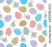 white rabbit sitting among... | Shutterstock .eps vector #1302081322