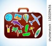 travel suitcase with stickers.... | Shutterstock .eps vector #130209656