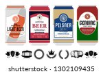 beer labels on aluminum cans.... | Shutterstock .eps vector #1302109435