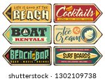 summer signs collection. beach  ... | Shutterstock .eps vector #1302109738