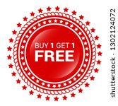 buy 1 get 1 free red sale tag ... | Shutterstock .eps vector #1302124072