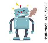 the robot is broken. smokes and ... | Shutterstock .eps vector #1302151918