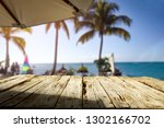 wooden table of free space for... | Shutterstock . vector #1302166702