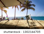wooden table of free space for... | Shutterstock . vector #1302166705