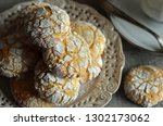 crinkles almond cookies on a... | Shutterstock . vector #1302173062