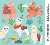 set of  cute  alpaca lama and...   Shutterstock . vector #1302180322