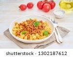 bolognese pasta. fusilli with...   Shutterstock . vector #1302187612