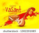 decorated instrument veena for...   Shutterstock .eps vector #1302201085