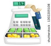 a cash register machine full of ...   Shutterstock .eps vector #1302205108