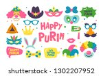 purim holiday cute carnival... | Shutterstock .eps vector #1302207952