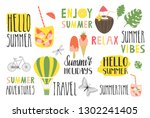 set of summer lettering and... | Shutterstock .eps vector #1302241405