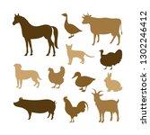 farm animals silhouettes. horse ... | Shutterstock .eps vector #1302246412