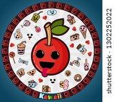 vector illustration in kawaii... | Shutterstock .eps vector #1302252022