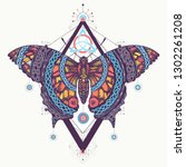 celtic butterfly tattoo and t... | Shutterstock .eps vector #1302261208