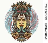 mayan god. tattoo and t shirt... | Shutterstock .eps vector #1302261262