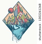 mountains and river. tattoo and ... | Shutterstock .eps vector #1302261268