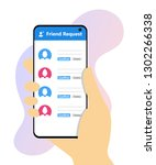 friend request on mobile phone... | Shutterstock .eps vector #1302266338