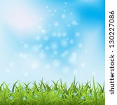 vector blue sky and green grass | Shutterstock .eps vector #130227086