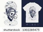 human skull and universe. music ... | Shutterstock .eps vector #1302285475