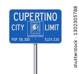 cupertino city limit road sign | Shutterstock .eps vector #1302305788