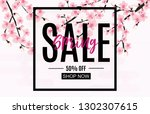 spring sale and discount promo... | Shutterstock .eps vector #1302307615