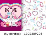 hand drawn cute unicorn with... | Shutterstock .eps vector #1302309205