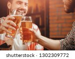 party in pub  clinking glasses... | Shutterstock . vector #1302309772