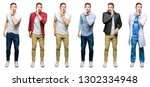collage of attractive young man ... | Shutterstock . vector #1302334948