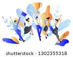 successful team or teamwork... | Shutterstock .eps vector #1302355318