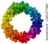 colorful cubes. 3d pixel style... | Shutterstock .eps vector #1302377482