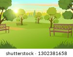 sunny day in city park with... | Shutterstock .eps vector #1302381658