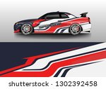racing car decal wrap vector... | Shutterstock .eps vector #1302392458