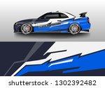 racing car decal wrap vector... | Shutterstock .eps vector #1302392482