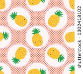 cute pineapple polka dot vector ... | Shutterstock .eps vector #1302418102