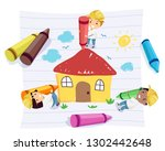 illustration of stickman kids... | Shutterstock .eps vector #1302442648