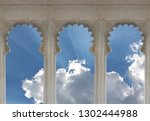 three ornate arches with cloud... | Shutterstock . vector #1302444988