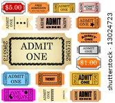 set of ticket admit one vector   Shutterstock .eps vector #13024723