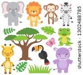 adorable safari wildlife... | Shutterstock .eps vector #1302488785