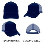 navy blue net trucker cap... | Shutterstock .eps vector #1302494362