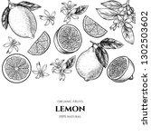 vector frame with lemons and... | Shutterstock .eps vector #1302503602