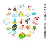 sunbathe icons set. isometric... | Shutterstock . vector #1302615118