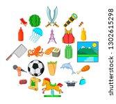 aestival icons set. cartoon set ...   Shutterstock . vector #1302615298