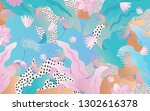 tropical jungle leaves and...   Shutterstock .eps vector #1302616378