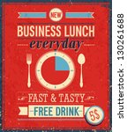 vintage bussiness lunch poster. ... | Shutterstock .eps vector #130261688