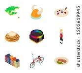 swedish icons set. isometric... | Shutterstock . vector #1302619945