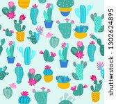 print seamless pattern cactus... | Shutterstock .eps vector #1302624895