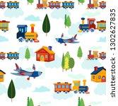 pritn seamless pattern train... | Shutterstock .eps vector #1302627835