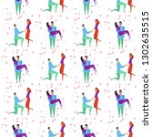 seamless pattern with lovers b... | Shutterstock .eps vector #1302635515